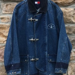 90's Tommy Hilfiger Denim Fireman's jacket size medium