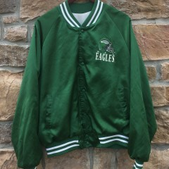 90s philadelphia eagles kelly green chalkline satin nfl windbreaker jacket