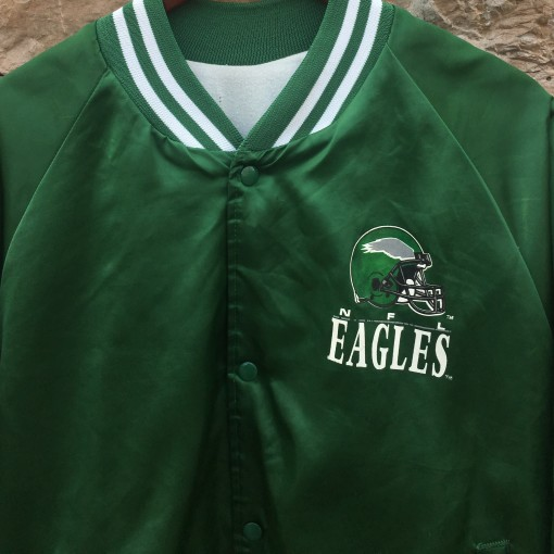 90s philadelphia eagles kelly green chalkline satin nfl windbreaker jacket