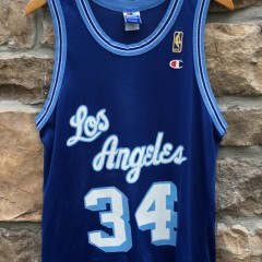 1997 Shaquille O'Neal Los Angeles Lakers 50th anniversary gold logo throwback champion nba jersey size 40