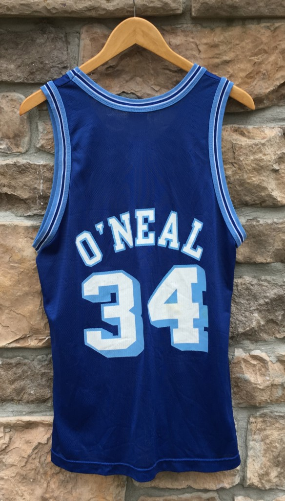 1997 Shaquille O Neal Los Angeles Lakers 50th anniversary gold logo  throwback champion nba jersey 8b47ec640
