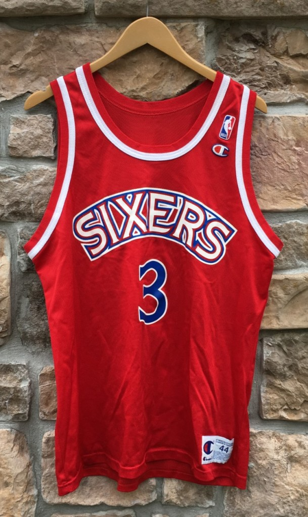 9c391627756 1997 Allen Iverson Philadelphia Sixers Champion Red Rookie jersey size 44  large