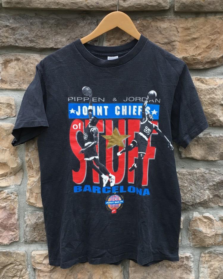 9c348c76c578 1992 Michael Jordan Scottie Pippen joint chiefs stuff Barcelona T shirt  size large