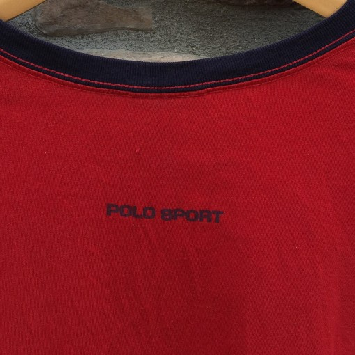 vintage polo sport polo 2000 classic logo ringer t shirt long sleeve size XXL red