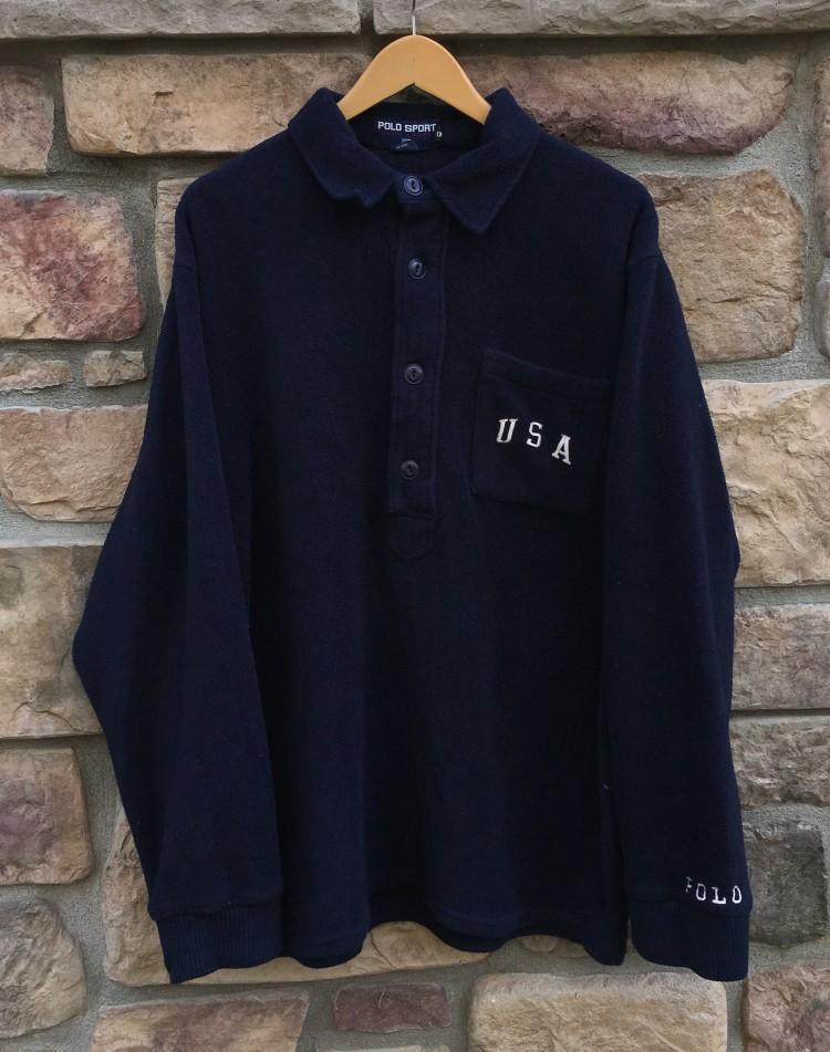 90's Polo Sport USA Button Up Navy Fleece Sweatshirt Size XL