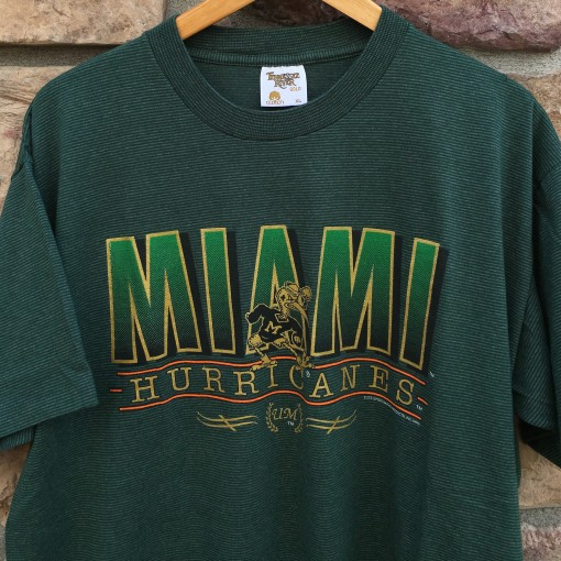 vintage 1993 Miami Hurricanes deadstock striped NCAA t shirt size XL