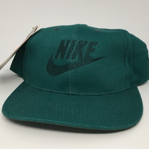 vintage deadstock early 90's Nike swoosh snapback hat green