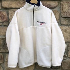 90's Polo Sport Ralph Lauren Fleece Quarter zip size Large white