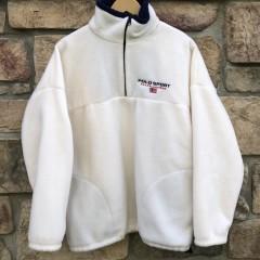 90's Polo Sport Ralph Lauren Fleece Quarter zip size Large white