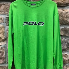 90's Polo Ralph Lauren Polo Sport Spell Out Long sleeve T shirt lime green size large
