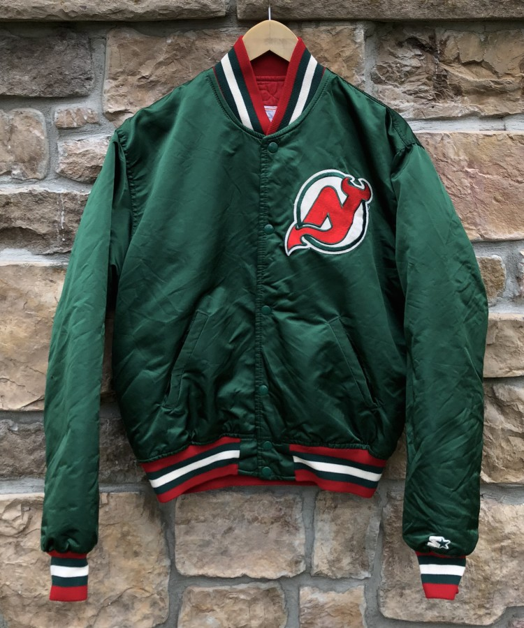 separation shoes 446f7 1e0ae 90's New Jersey Devils Green Starter NHL Satin Jacket Size Large