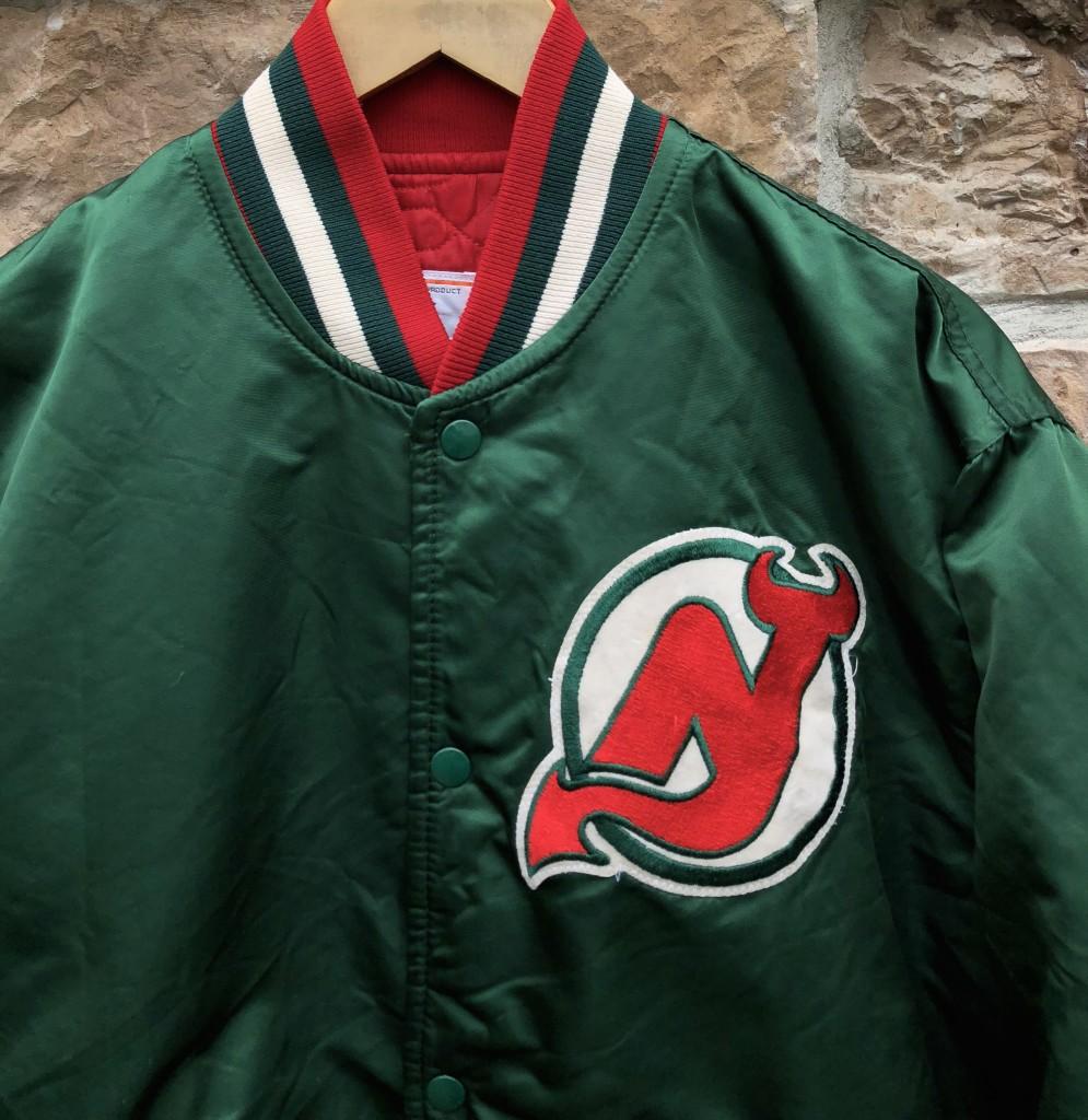 92b94dd9651 90 s New Jersey Devils Starter Satin Bomber Jacket Green Size Large vintage  OG