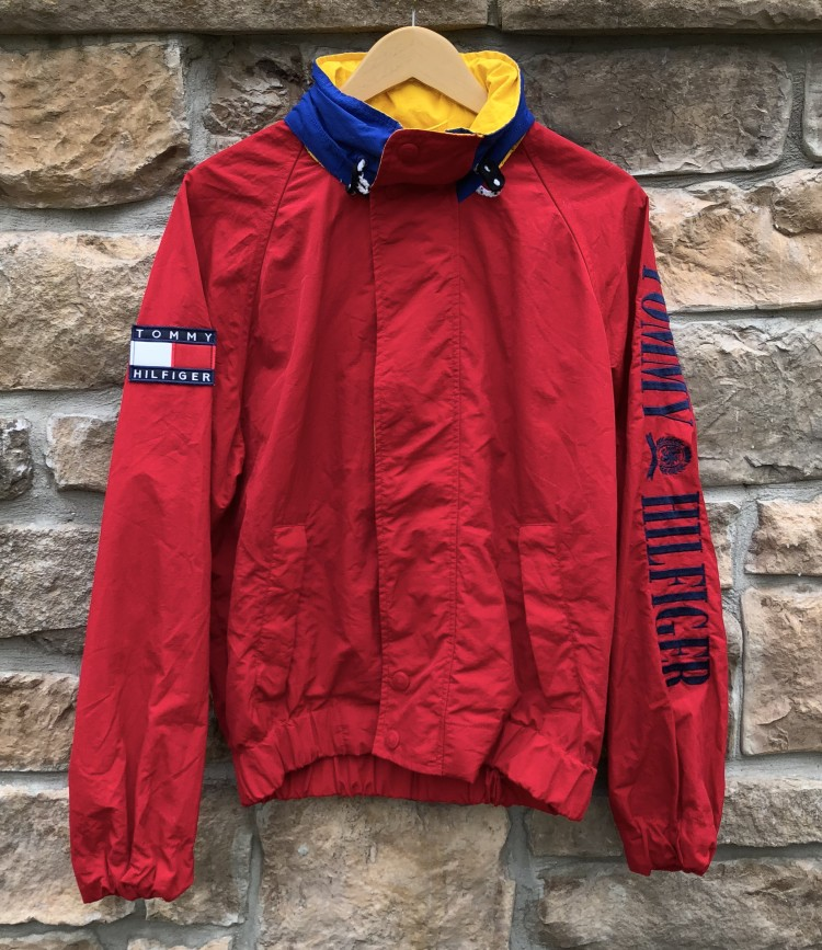14335326a 90's Tommy Hilfiger Red Sleeve Spell Out Jacket Size Small