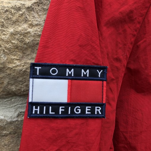 90's Tommy Hilfiger Spell Out Windbreaker Jacket Size Small Super Man Flag Patch
