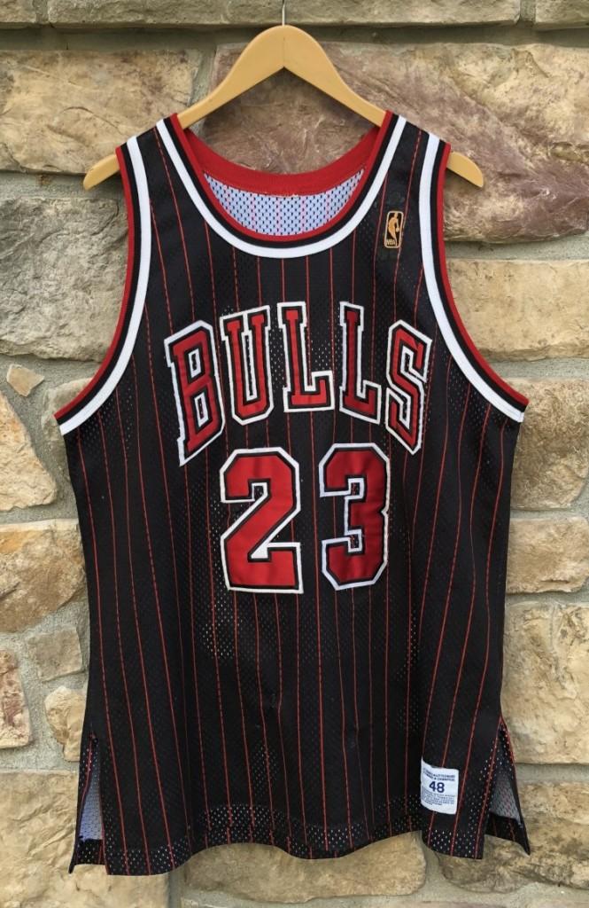 941c80329d1aa7 1997 Chicago Bulls Michael Jordan vintage champion authentic NBA jersey  black pinstripe alternate size 48 XL