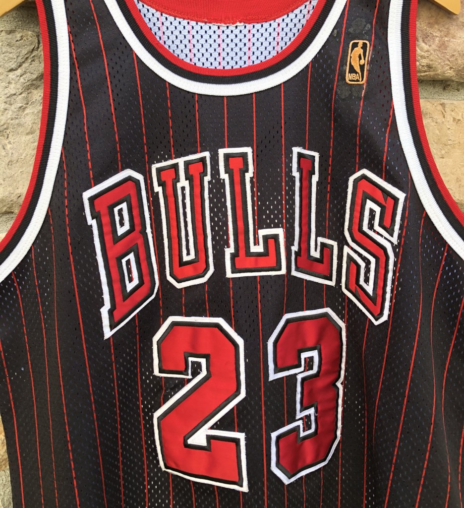 48fb4599d19 1997 Chicago Bulls Michael Jordan vintage champion authentic NBA jersey  black pinstripe alternate size 48 XL