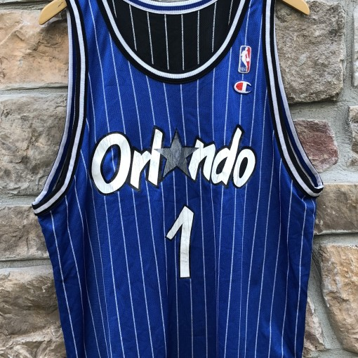 90's Penny Hardaway Orlando Magic Reversible Champion pinstripe NBA jersey size 44 large