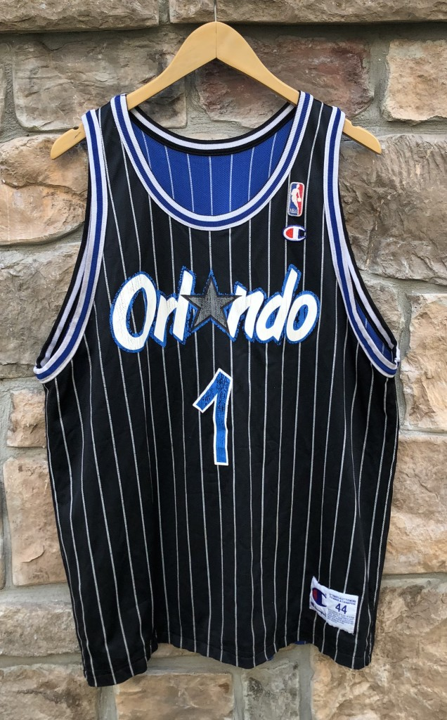 c4276f6ff8f 90's Penny Hardaway Orlando Magic Reversible Champion pinstripe NBA jersey  size 44 large