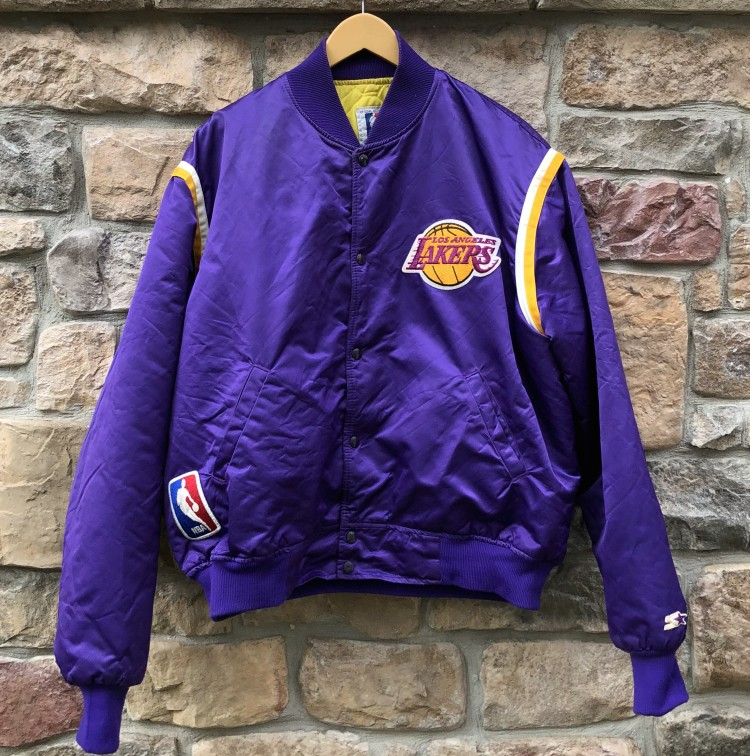 6c8f5fcccc5 90 s vintage Los Angeles Lakers Starter Satin bomber jacket NBA size XXL
