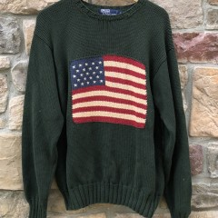 vintage 90's Polo Ralph Lauren USA Flag knit crewneck sweatshirt size Large Green