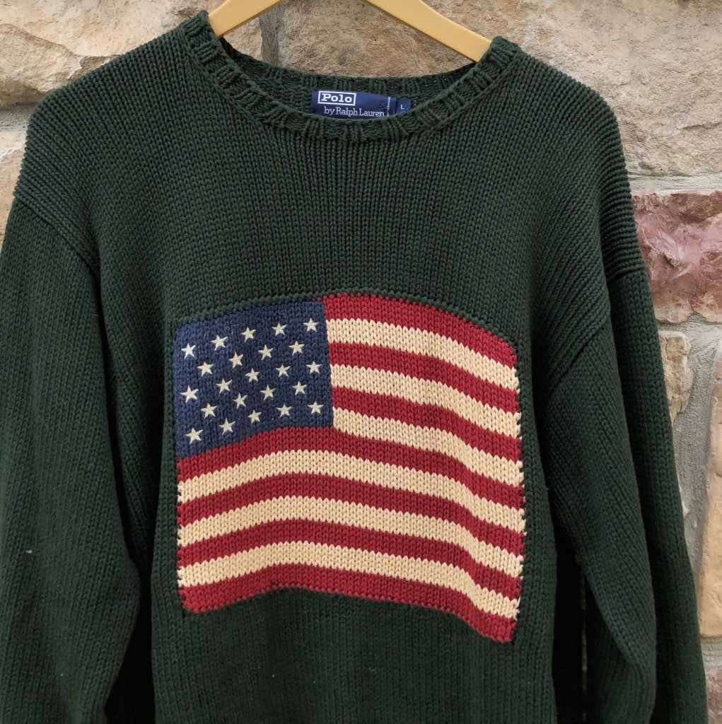 buy online b5e83 94ba9 90's Polo Ralph Lauren USA Flag Knit Sweater Green Size Large