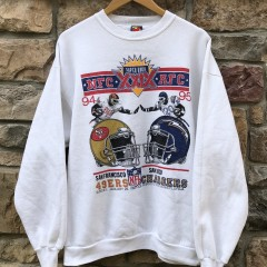 1995 Super Bowl XXIX Super Bowl 49ers vs Chargers nfl crewneck sweatshirt size XL