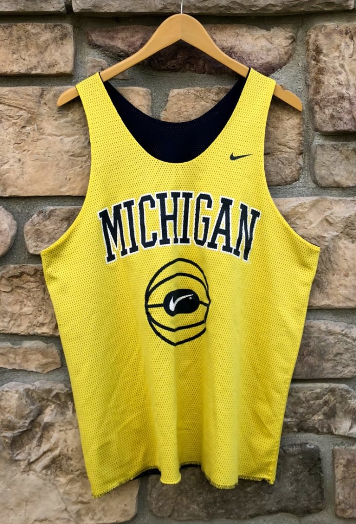106862b05d8 90's University of Michigan Wolverines Nike reversible basketball practice  jersey size large fab 5