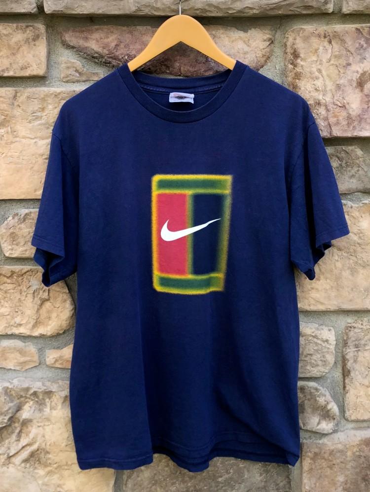 0c93d88e 90's Nike Challenge Court T Shirt Navy Blue Size Medium   Rare Vntg