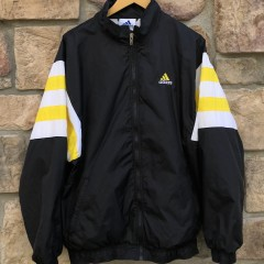 90's vintage Adidas track windbreaker jacket size XL black yellow