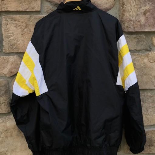 90's vintage Adidas track windbreaker jacket size XL black yellow
