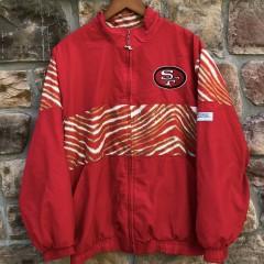 90's San Francisco 49ers Zubaz  Chalkline windbreaker jacket size large