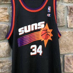 90s Charles Barkley Phoenix Suns Black Champion alternate Vintage NBA jersey size 48 XL