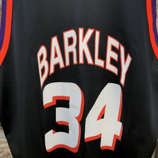 90s Charles Barkley Phoenix Suns Black Champion alternate Vintage NBA jersey size 48 XL