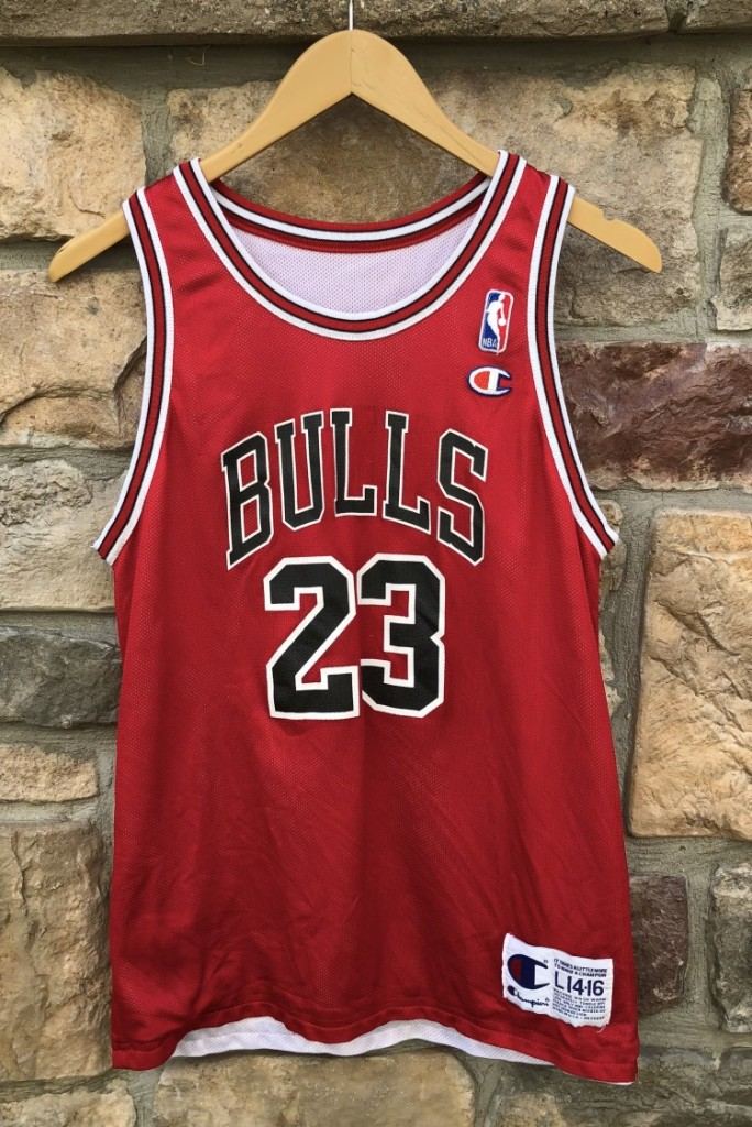 445d8b96cbc3 90 s Michael jordan Chicago Bulls reversible champion vintage NBA jersey  size youth large