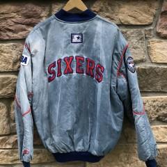 90's Philadelphia Sixers Starter acid wash bomber jacket size XL vintage