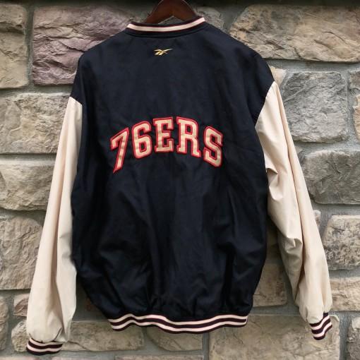 90's Philadelphia Sixers Reebok bomber jacket size xl 76ers