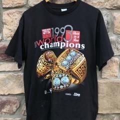 1993 Chicago Bulls World Champions Rings T shirt salem sportswear vintage size large