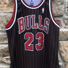 1996 Michael Jordan Chicago Bulls black pinstripe authentic vintage Champion NBA jersey size 48 XL
