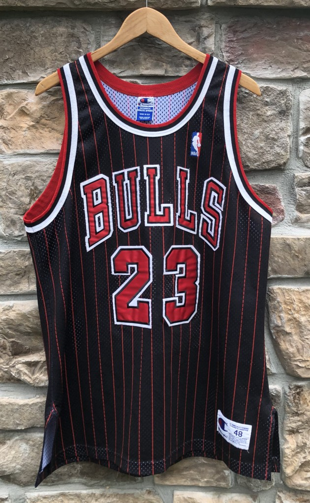 3b80d345269 1996 Michael Jordan Chicago Bulls black pinstripe authentic vintage  Champion NBA jersey size 48 XL