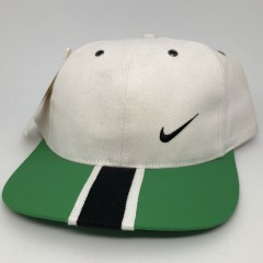 Vintage Deadstock 90's Nike USA White green black stripe strap back hat
