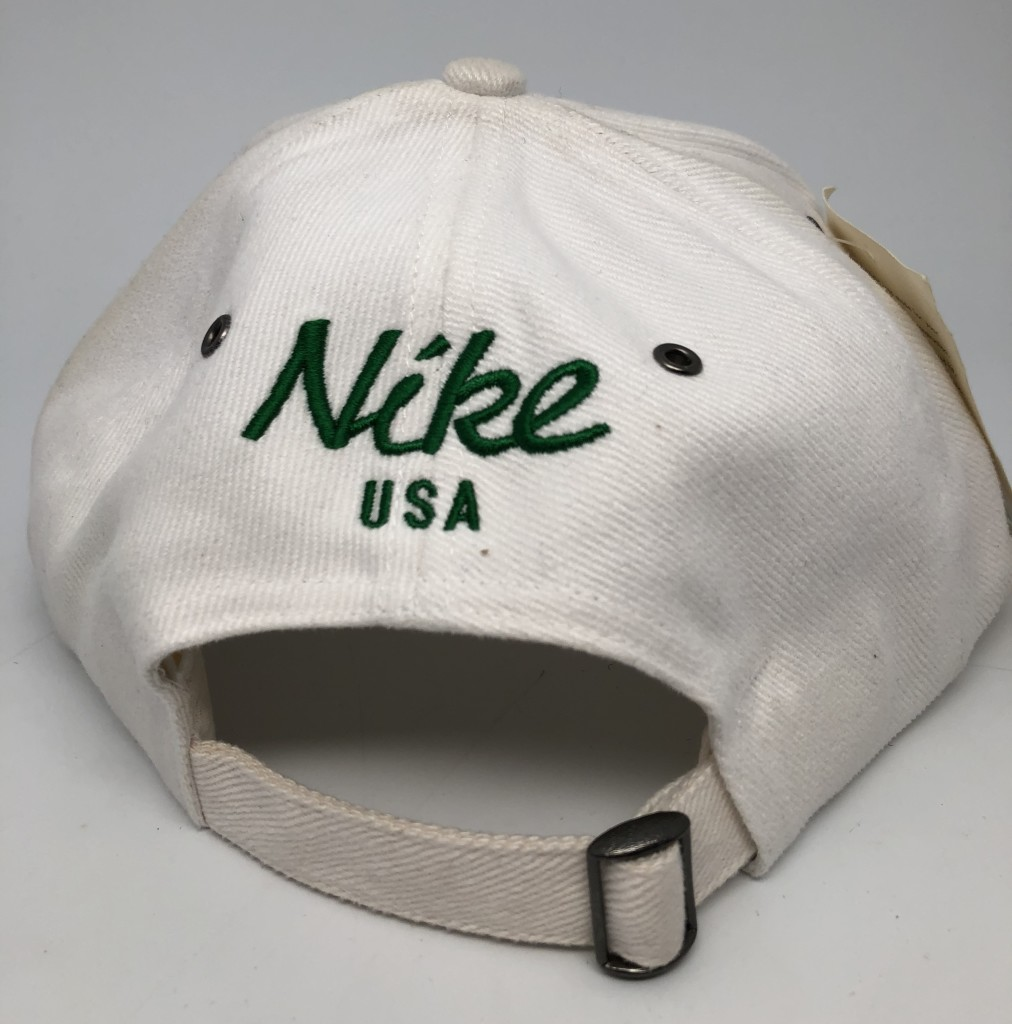 Vintage Deadstock 90 s Nike USA White green black stripe strap back hat 3a44ba141533