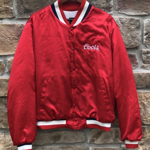 80's Coors Beer Chute Out Pro Rodeo Satin Jacket size large red