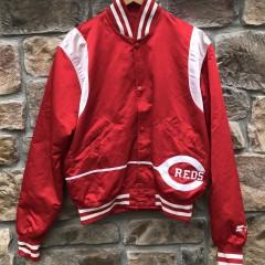 80's Cincinnati Reds Starter Satin Bomber Jacket Size Large MLB vintage
