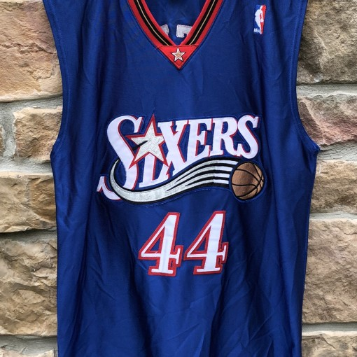 2002 Derrick Coleman Philadelphia Sixers Authentic Reebok NBA jersey size 40 medium