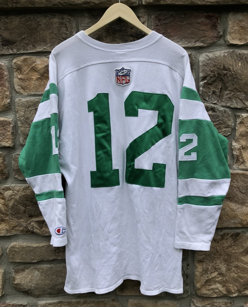 77af5bbbf 90 s Retro Joe Namath New York Jets Champion Throwbacks vintage collection  NFL sweater jersey size Large