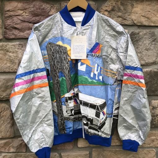 90's NJ Transit Tyveck All over print jacket size large