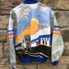 90's NJ Transit Tyveck All over print jacket size large