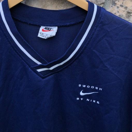 90's Swoosh By Nike Mesh v neck shirt size large navy blue