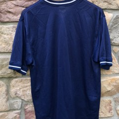 90's Swoosh By Nike Mesh v neck shirt size large navy blue