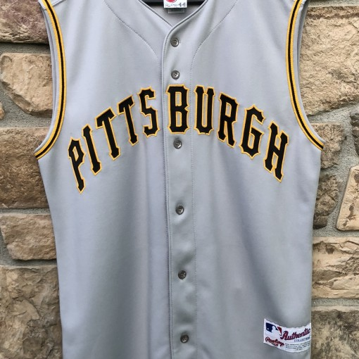2001 Pittsburgh Pirates Authentic Rawlings Diamond Collection MLB Jersey size 44 large grey vest
